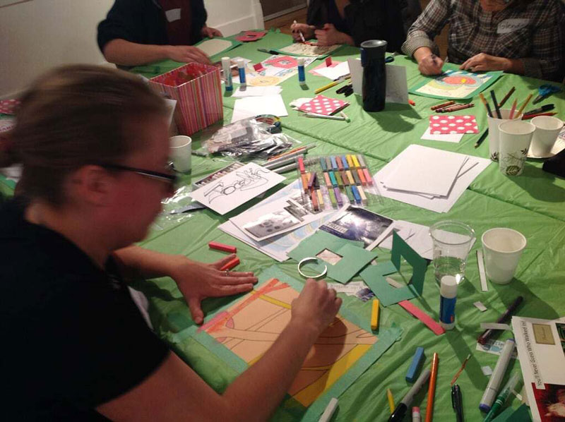 People creating art at a Creative Revival Co. workshop
